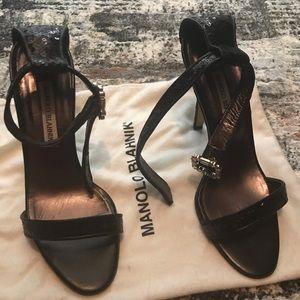 Manolo Blahnik black sequin ankle strap sandals